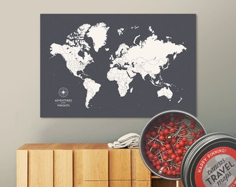 Push Pin Map (Charcoal) Push Pin World Map Pin Board World Travel Map on Canvas Push Pin Travel Map Personalized Wedding/Anniversary Gift