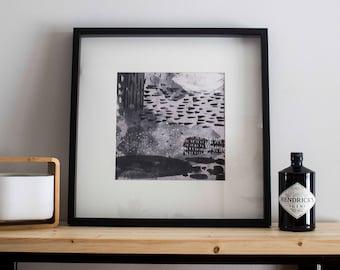 Artwork printed on canvas / / abstract minimalist / / 13 x 13