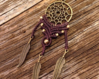 Gipsy dreamcatcher macrame necklace, brown, antique gold, feather, hippie, boho