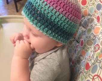Crocheted Colorful Striped Winter Wool Baby Women Men Girl Boy Toddler Child Hat Beanie Unique All Sizes Newborn to Adult Sugar Cookie