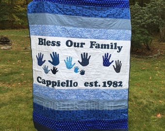 Bless Our Family - Customized Quilt - Made to Order - Anniversary Gift - Grandparents - Handprint Quilt