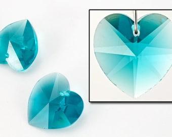 14.4mm x 14mm Swarovski 6202 Blue Zircon Heart Drop