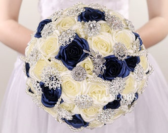 Ivory and Navy Blue Bouquet, Brooch Bouquet Bridal Flowers, Broach Bouquet, Fabric Roses Wedding Bouquet, Jewelry Bouquet, Crystal Bouquet