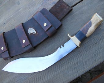 Big Kukri type knife Ball Bearing Steel Blade, Fancy Multi Colored Hard Wood and Ebony Spacer handle With Sheath.