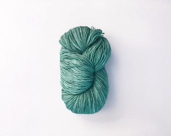 ENERO mint green sock weight yarn -- Hand dyed yarn, fingering weight yarn, semi solid mint green yarn, gifts for knitters, knitting, wool
