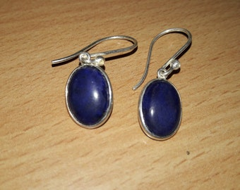Natural Blue Lapis Stone Earrings In 925 Sterling Silver !! New Arrival