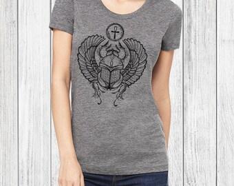 Scarab, Scarab Tshirt - scarab beetle, egyptian, graphic tees for women, screen print, cool t shirts, womens tshirts, graphic tee