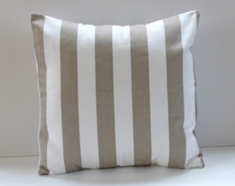 Ecru Striped Pillow Cover- Ecru and White Decorative Pillow 16x16- Ready to Ship