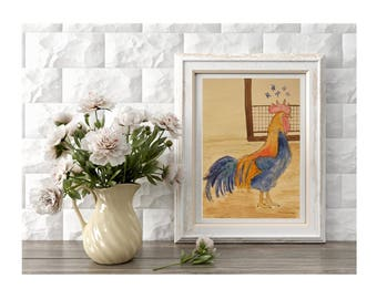 Original Rooster Art Farm Decor  Painting of a Rooster Farmhouse Artwork Room Decor Nursery Decoration Baby Nursery Art