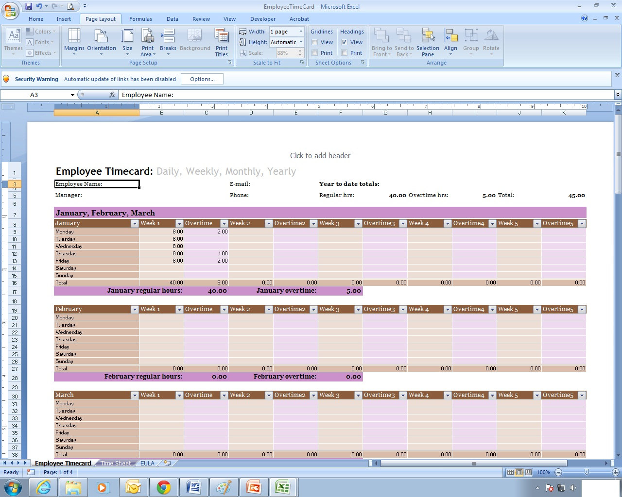 Employee time sheet excel spreadsheet template zoom alramifo Gallery