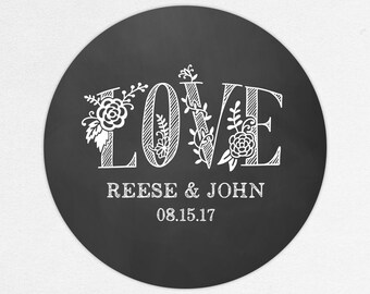Chalkboard Favor Labels, Chalkboard Favor Tags, Favor Stickers, Wedding Labels, Printed Labels, Chalkboard Stickers, Floral, Rustic, LOVE