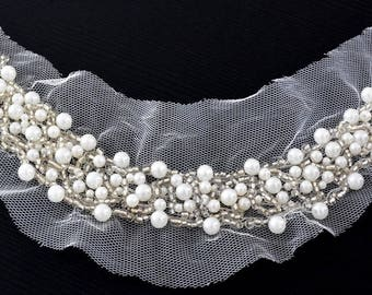 Applied neckline 9x25cm tulle hand sewn beads