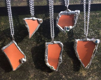 Aromatherapy Essential Oil Terracotta Clay Silver Crystal Pendant, Gemstones, Organic Form, Natural Healing, Essential Oil Carrier, Orange