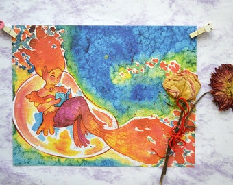 Print - Fire mermaid