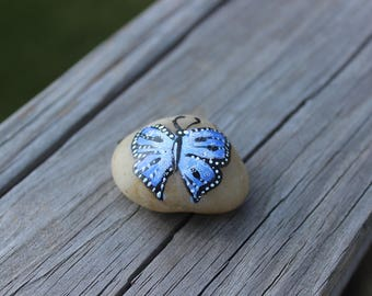 Hand-painted Blue Butterfly Stone