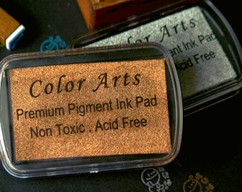 Copper Stamp Ink Pad - DIY Oil Based Print Craft Pad For Rubber Stamps Paper Wood - 9cmx6cm