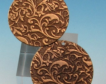 Floral Embossed 1 Inch Round Pendant, Brass Ox, 2 pieces, AB134
