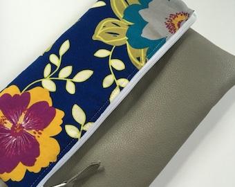 Blue Floral Fold Over Clutch, Clutch Purse, Vinyl Fold Over Clutch