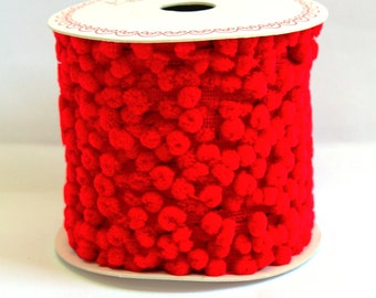 RED pom pom trim - 5m, haberdashery UK shop, sewing supplies