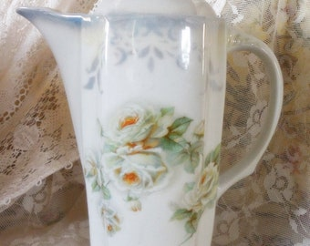 Flawless Antique German Chocolate Pot, Stenciled, Tea Roses, French Country Porcelain, Coffee, Espresso