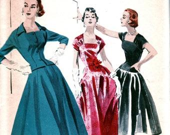 UNCUT *  1950s Butterick Pattern 7552 // GORGEOUS Evening Dress (long or short) w/ Shutter Neckline // Size 14 Bust 32