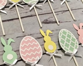 12, 18, 24 or 30 Easter Cupcake Toppers, Easter Party, Eggs Toppers, Bunny Toppers