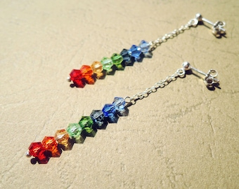 Rainbow Earrings, Minimalist Crystal Dangle Tiny Gemstone Beaded Long Drop Daily Earrings, Simple Elegant Gift for Mom for Her Mother's