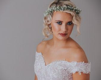 Gyp crown, snow crown, babies breath crown, Woodland crown, ivory halo, Faerie crown, woodland hairpiece, woodland wedding, statement crown