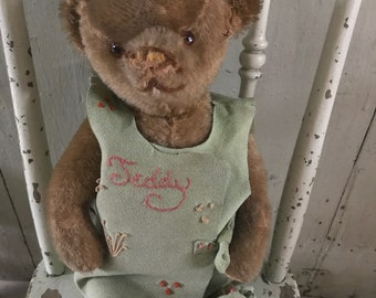 "15"" circa 1920 American antique mohair teddy bear in great outfit"