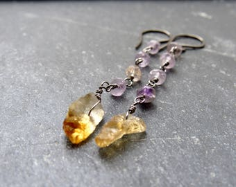 Raw Citrine Earrings  Amethyst earrings Raw Crystal Earrings Rough stone November Birthstone  gift women gift for her Mother's Day gift