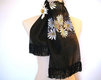Her scarf Double organza black daisies Rebrodee