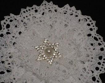 White Crochet Kippah, Wedding Kippah, Jewish Star Kippah, Cotton Yarmulke
