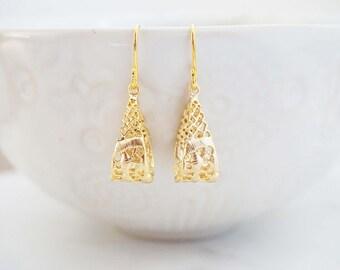 Gold Lace Hoop Earrings
