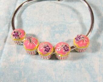 5 Silver Tone/Enamel Cupcake Euro Style Charm Beads  (B491z)