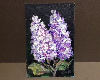 Lilacs painting flowers still life original floral painting 4 x 6