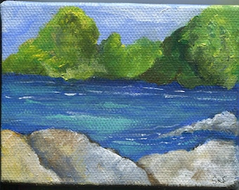 Landscape painting mini canvas with Easel, Nature Artwork, 3 x 4, Original small painting of lake, rocks, shore, acrylic painting canvas art