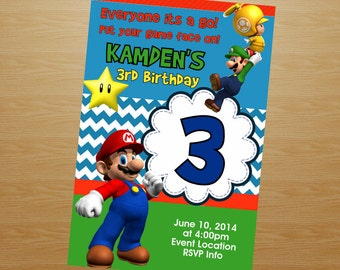 Super Mario Brothers Birthday Invitation - Super Mario Brothers Invitation - Super Mario Brothers Invite - Printable Invitation - Digital