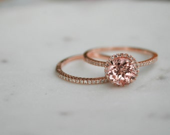 Halo Engagement Ring, Champagne Sapphire Halo Ring, Rose Gold Ring, Wedding Ring, Diamond Ring, Halo Diamond Ring