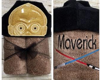 Gold Robot Hooded Bath Towel/ Star Wars C3PO/ Robot Costume/ Robot Birthday/ Star Wars Gift/ Star Wars Baby/ Pool Towel/ Beach Towel