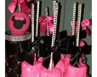 The Whole Shebang Minnie Mouse Dessert Table Candy Buffet 12 of each 60 items total!!
