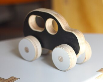 SUV Wooden Car Push Toy | White, Black or Grey | Handmade, Cute, Minimal, Modern Plywood Kids Toy | A Great Gift for Boys or Girls.