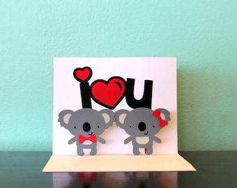 Pop Up Card - I <3 U - Koala Card