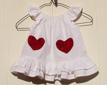 Heart Pocket Newborn Peasant Dress with Flutter Sleeves