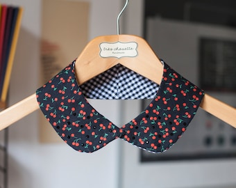 Black rounded cotton Peter Pan collar featuring red cherry pattern and black Swarovski beads