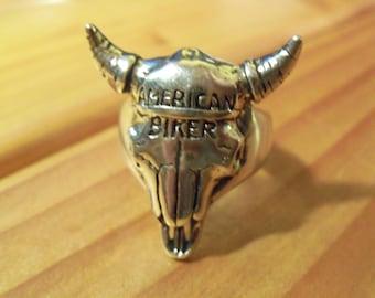 American Biker Cow Skull Ring