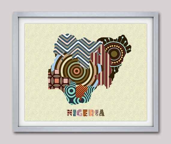 Nigerian Art, Nigerian Art Print Map Lagos, Nigerian Wall Art, Nigerian Wall Travel Map Poster, Nigerian Pop Art Wall Decor