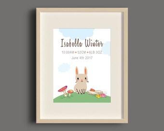 Forest Rabbit Birth Announcement Art Print - 8x10 - UNFRAMED