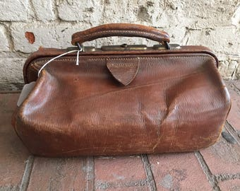 Antique leather doctor visiting bag