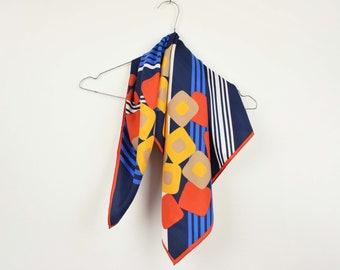 Vintage 70s scarf, summer scarf, square neck scarf, square neck scarf, retro scarf, 70s scarf, 70s clothing, women scarf, orange scarf