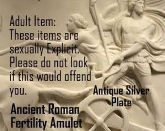 Bawdy Romans, Ancient Roman Fertility Phallic Amulet Pendant 100-300AD, Silver Plate Version 2